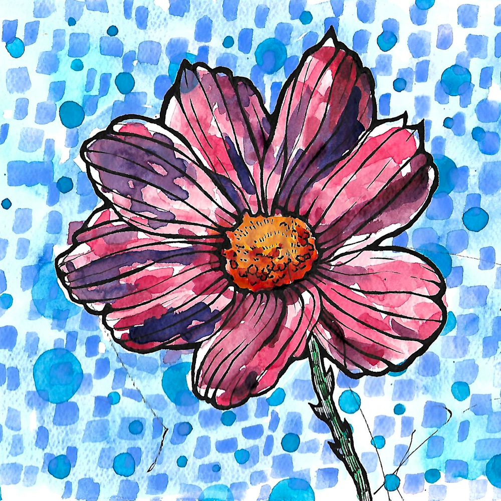 Flower bold lines with cerulean blue circles and blue squares dyqp37