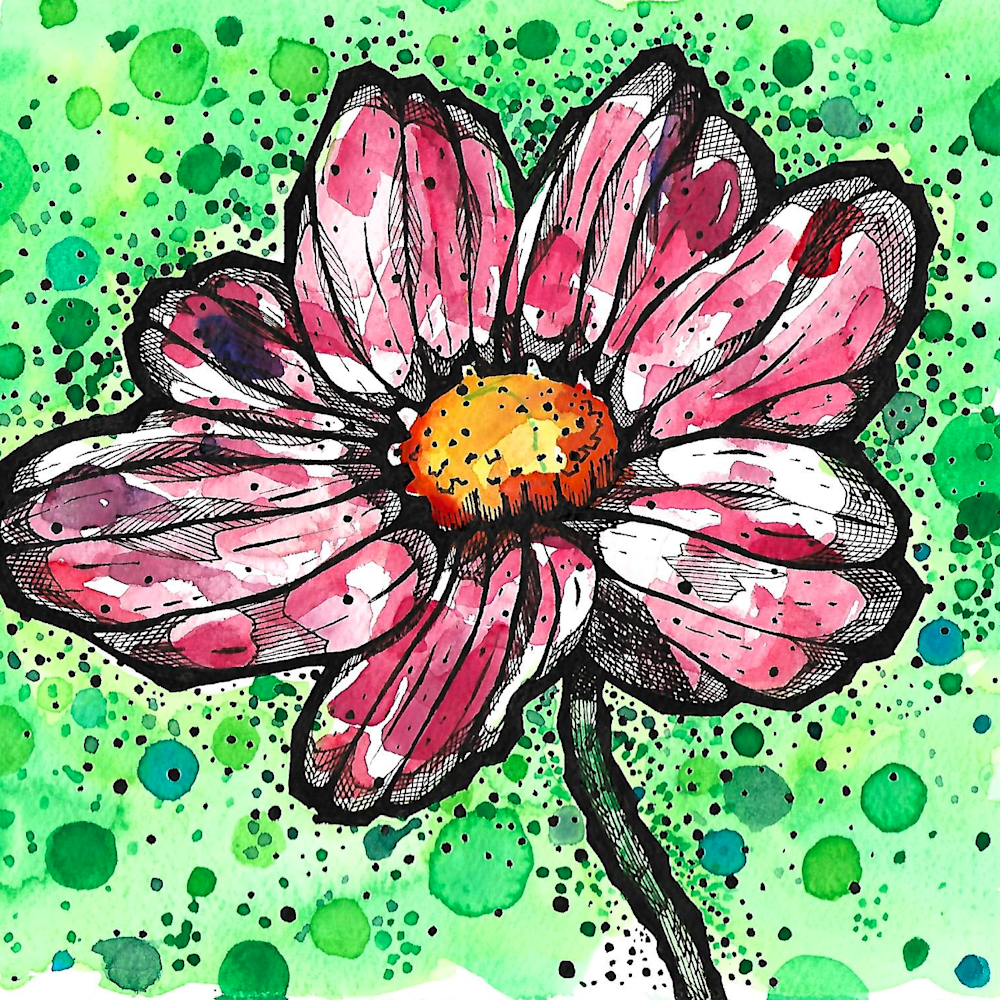 Bold lined flower with green circles and dots kegdh8