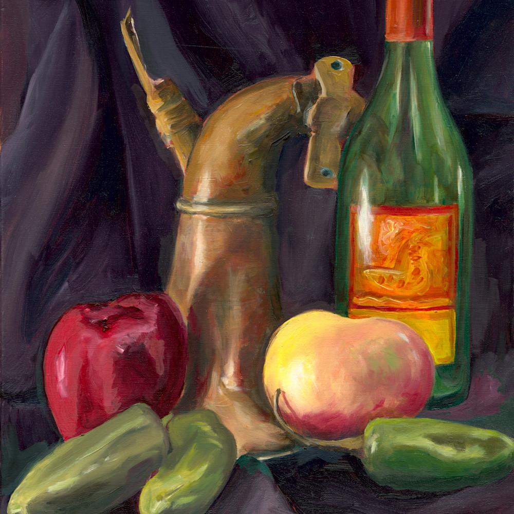 Opv art still life produce bottle and horn jpg file iu98ai
