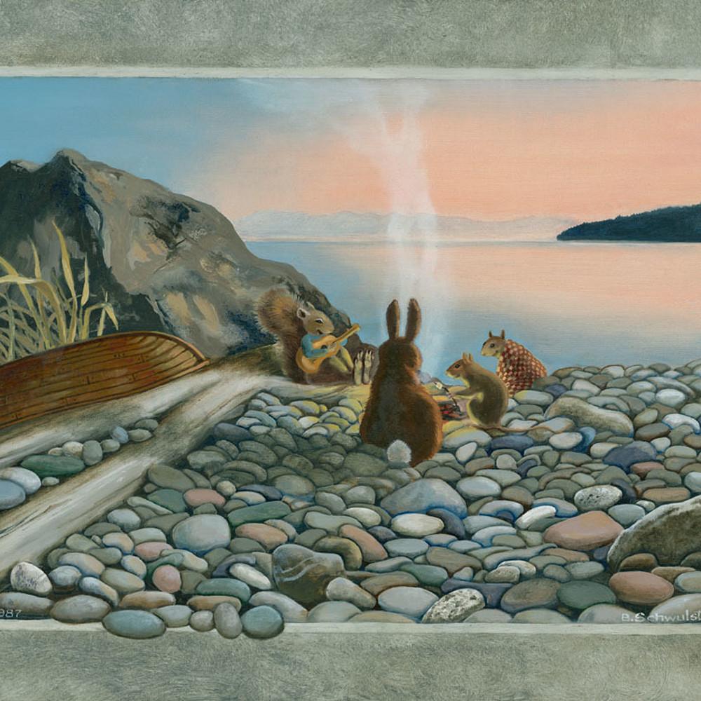 Campfire on alexander beach 16x20 nosgik