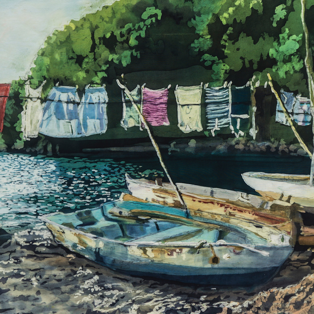 Muffy clark gill wash day  st. lucia rozome on silk 26 x 34 in yournx