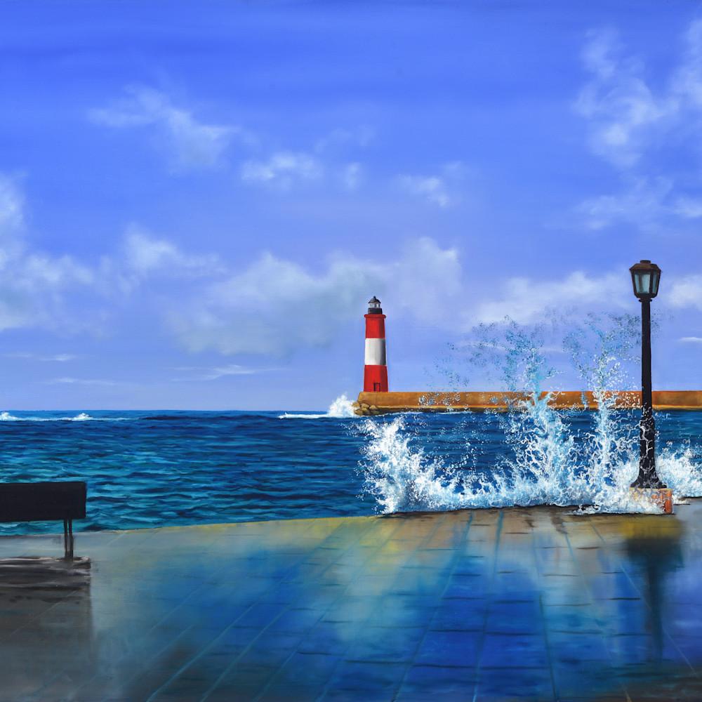 04  pier view of lighthouse oil on canvas by monica marquez gatica mmg art studio izceta
