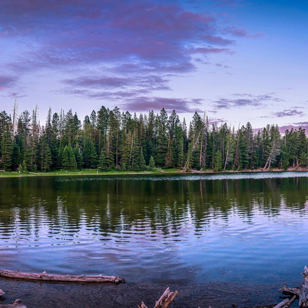 Blue lake sunset pano 16x48 njicmu