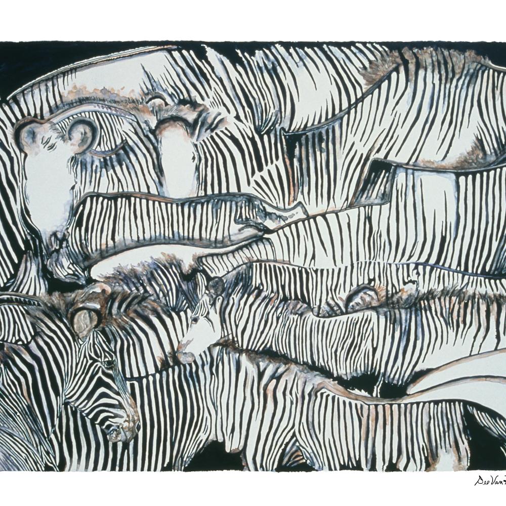 Dee van houten zebra faceinthecrowd watercolor foabdg