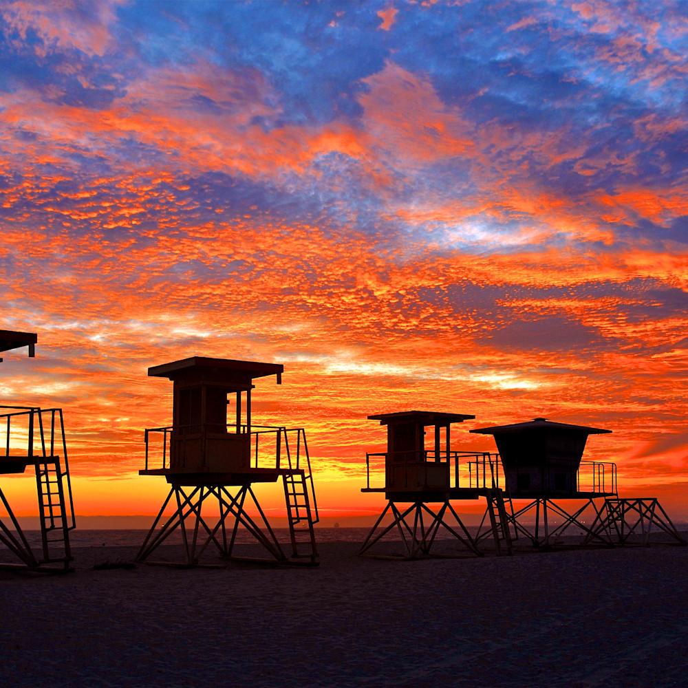 Huntington beach lifeguard stands sunset k4fhw6