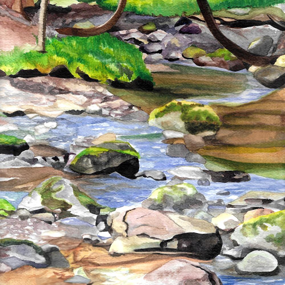Creek walking  9 x 12 watercolor 2020 brittany selfe hwaoux