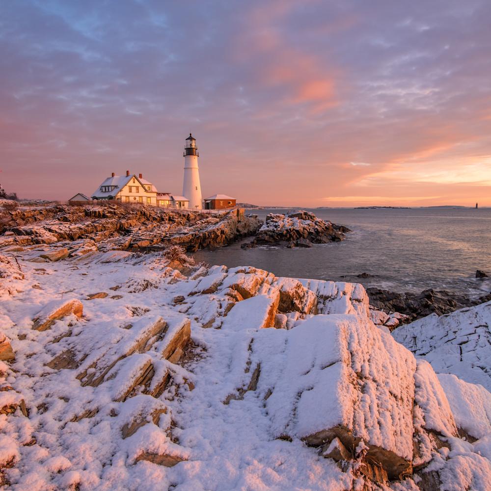 Snowy dawn at portland head light j509ku