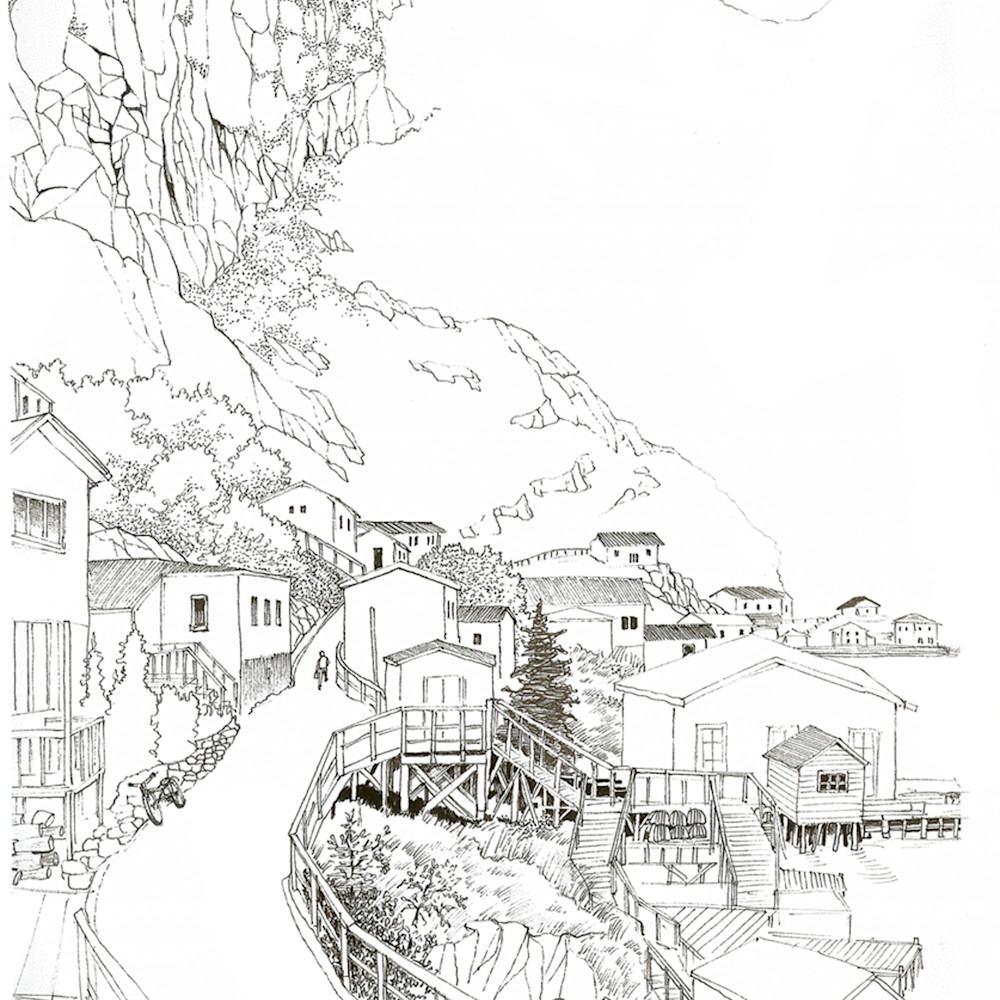 Sketch   newfoundland   fishing village i5hnlj