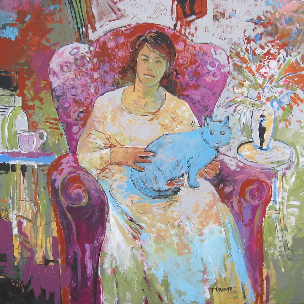 Woman with blue cat vij02x