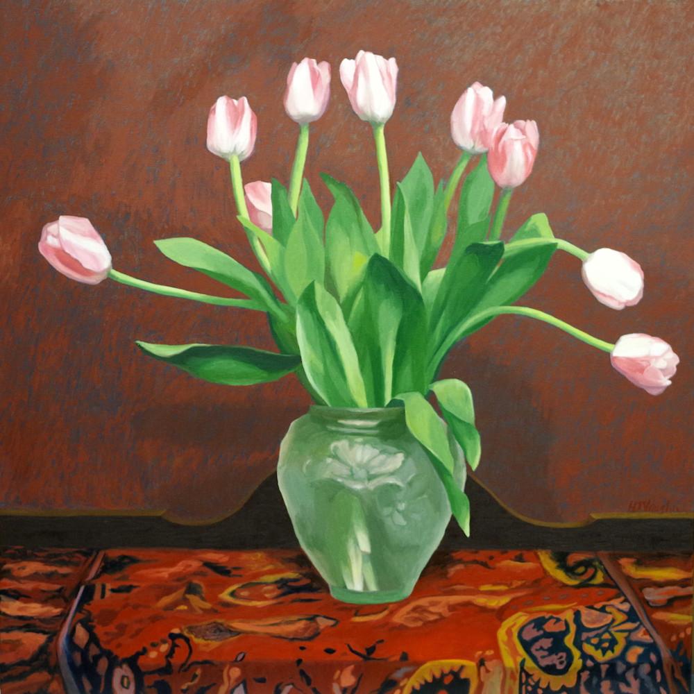 Nine tulips in a green glase vase wyxczo