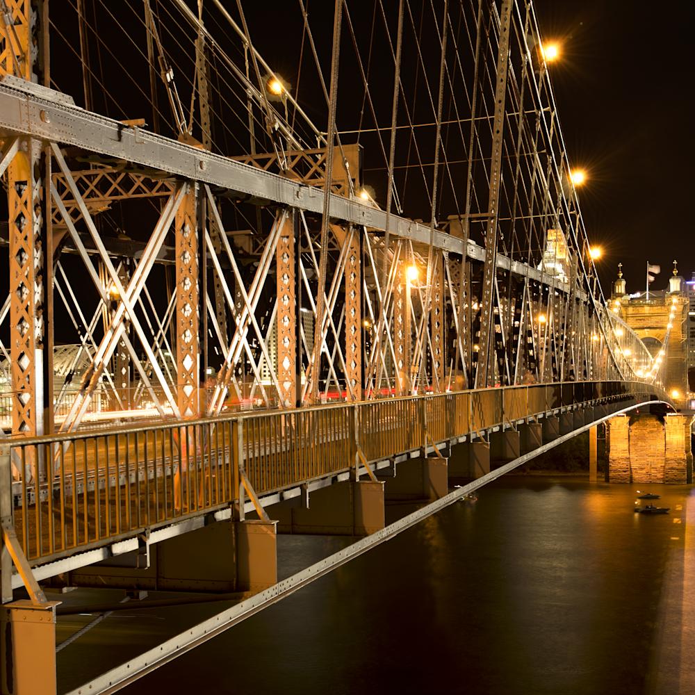 Roebling bridge at night girders ozhb8y