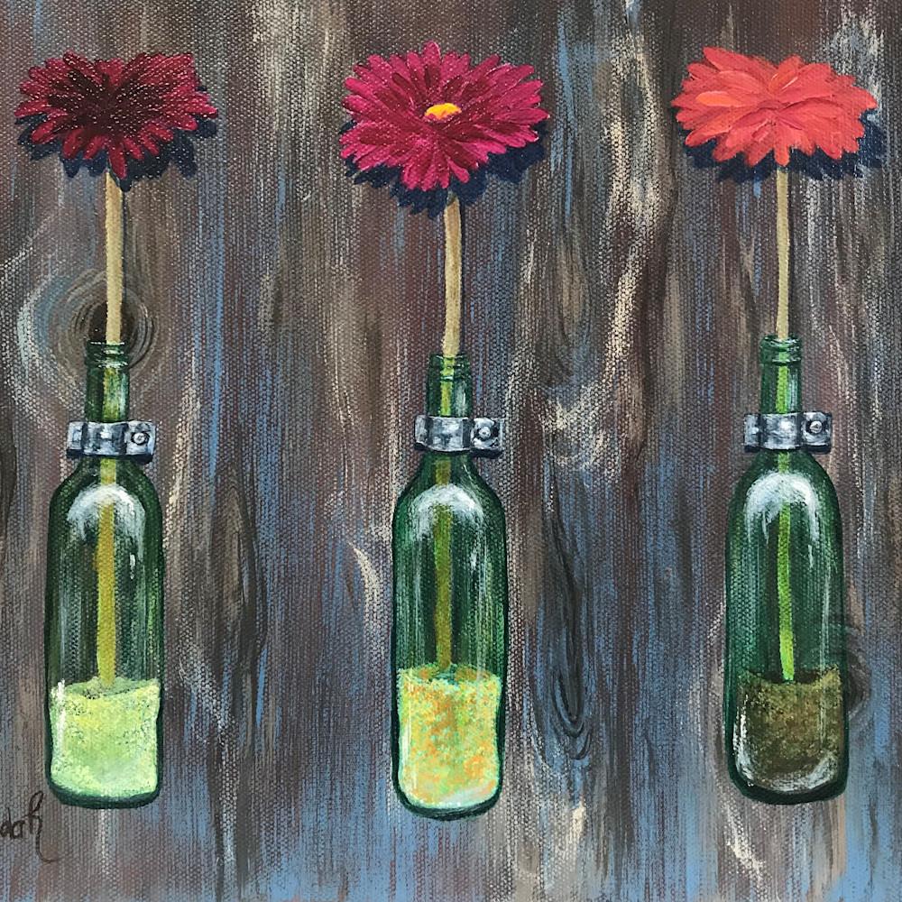 Fresh flowers in green glass bottles 1 of 2 xak4ft