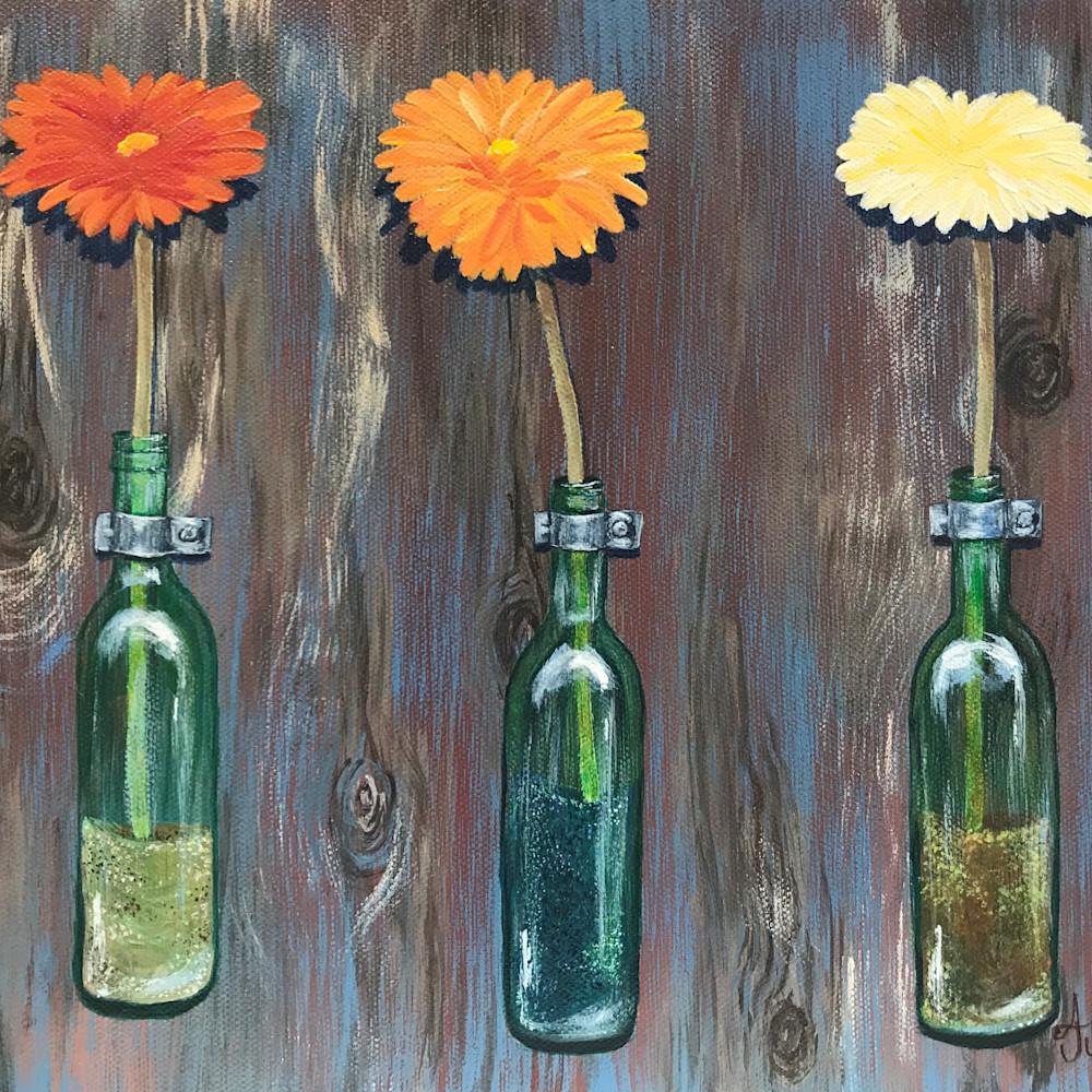 Fresh flowers in green glass bottles 2 of 2 hao6fo