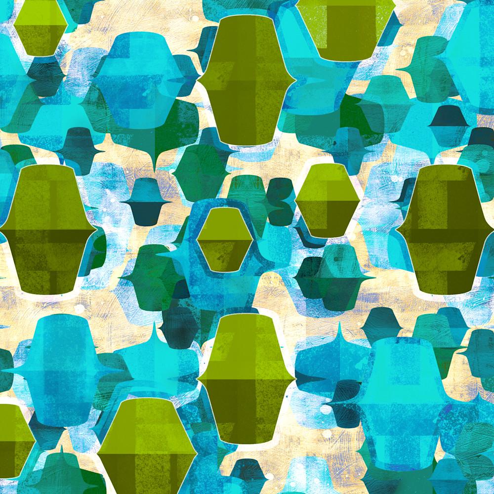 1960s abstract art blue green 01 mod city gallery kna6xc
