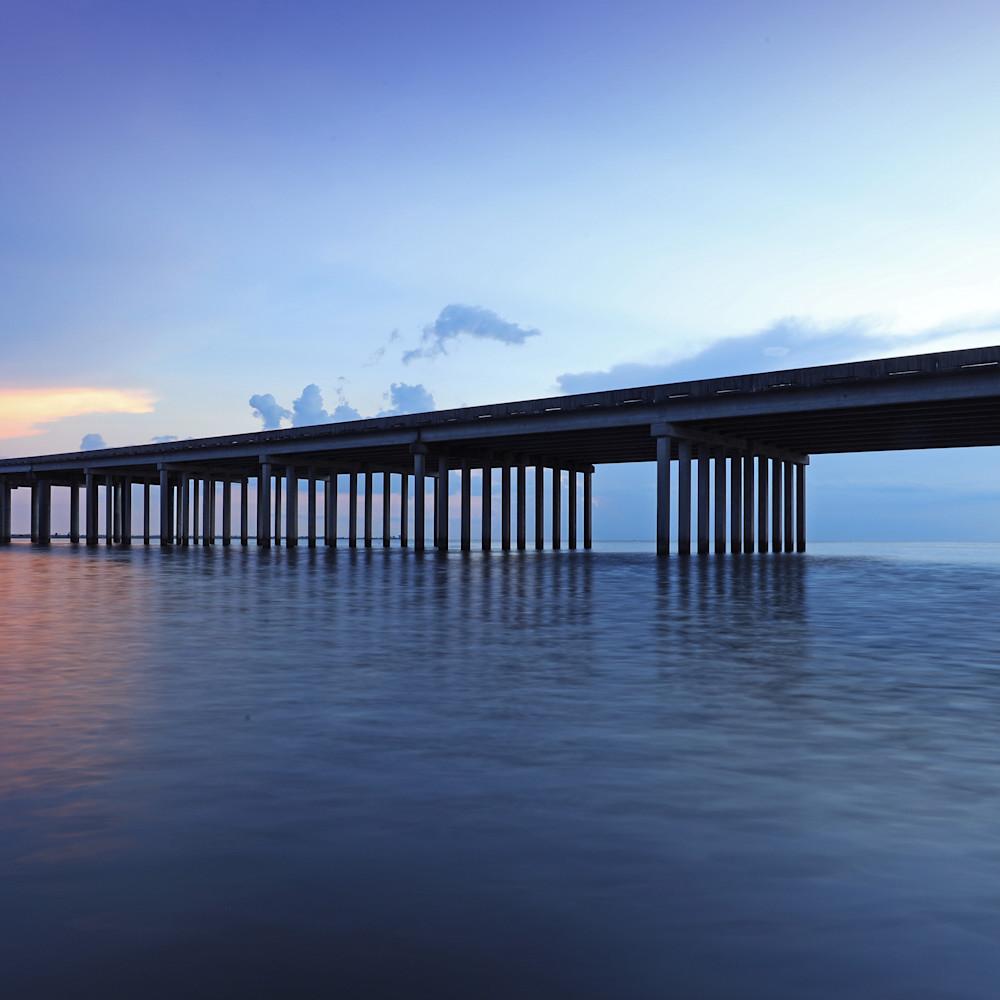Long exposed bridge sunset tksaql