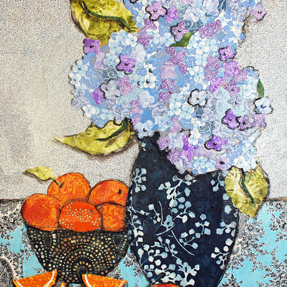 Hydrangea and oranges asf print oxdx76
