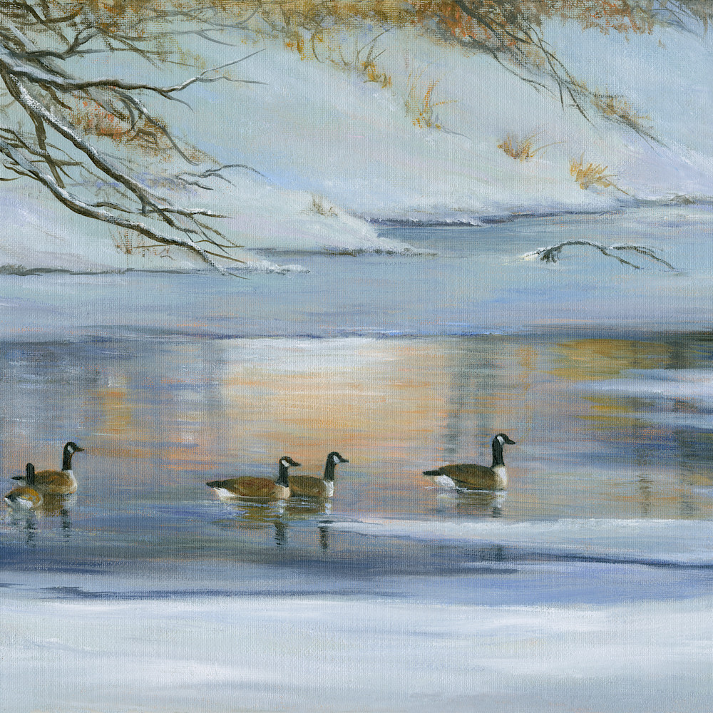 Geese.river.winter9x12print vsr4fm