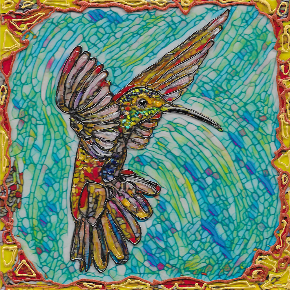 Flying hummer 2 on acrylic gk3qm1