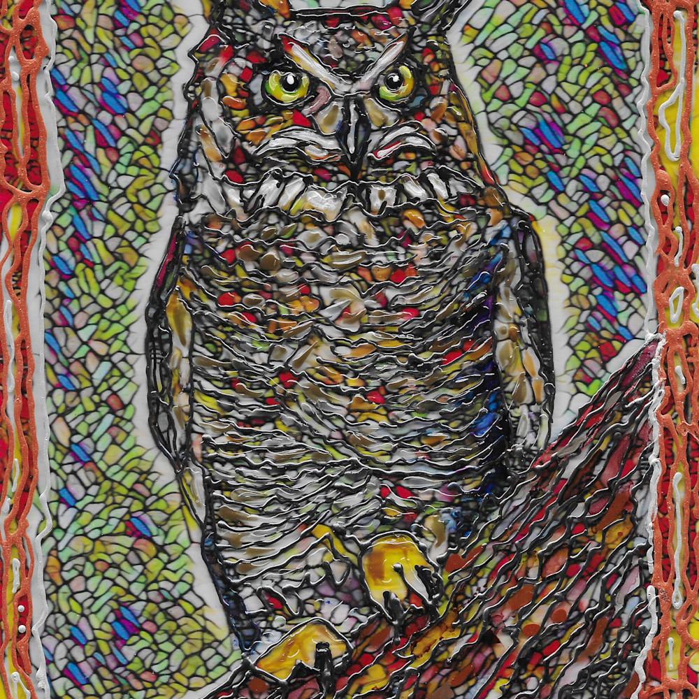Great horned owl on acrylic aj45xs