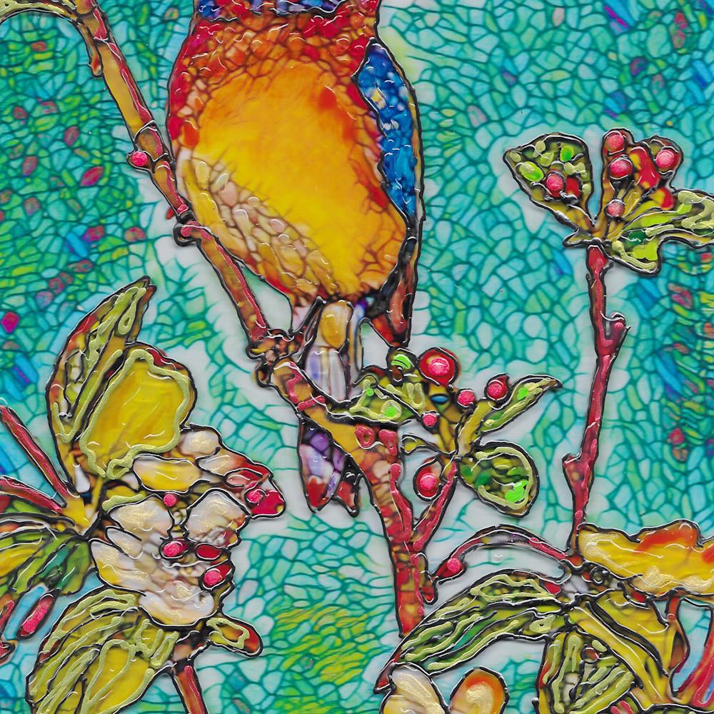 Blue bird on acrylic m86j45