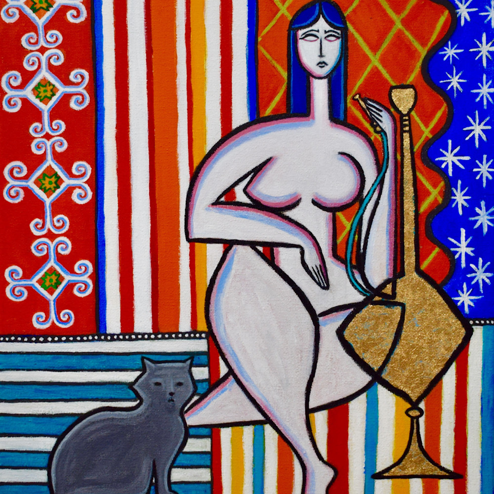 Odalisque with gray cat painting paul zepeda jydtgk