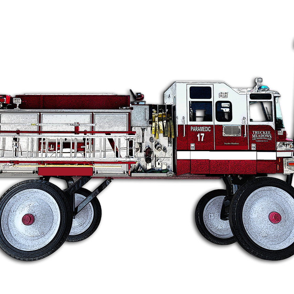 New red wagon as a fire truck with texture and shadows asf ahkykc