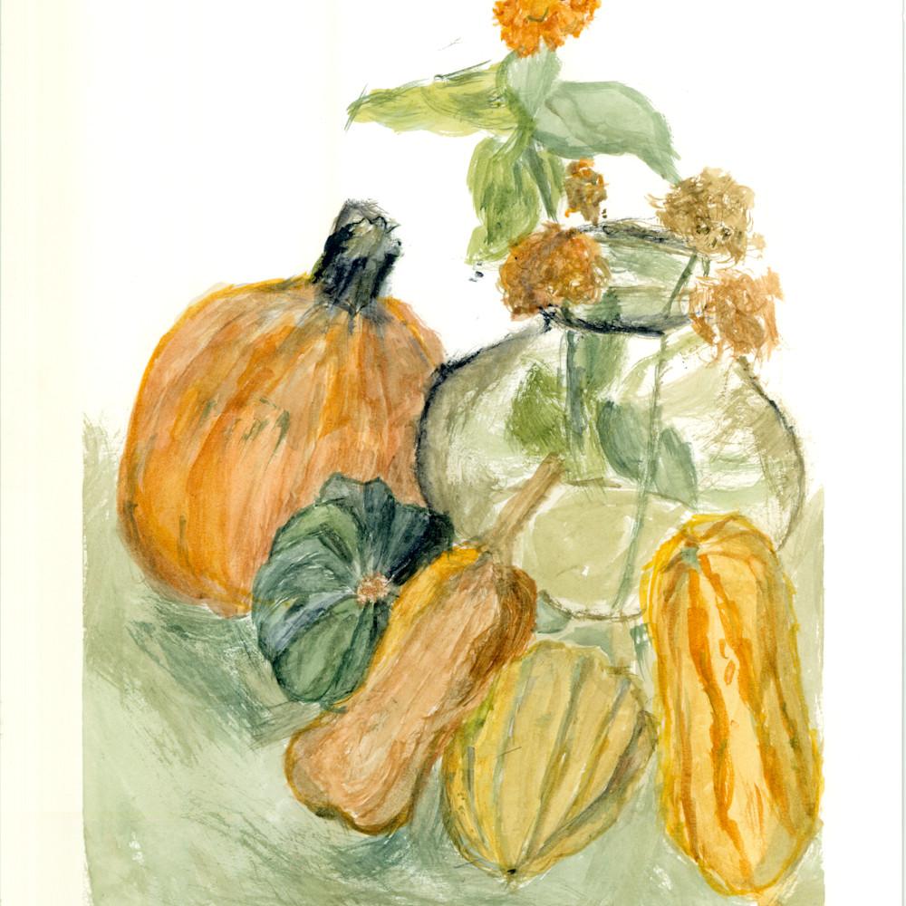 Last zinnia still life with autumn squash thu3i2
