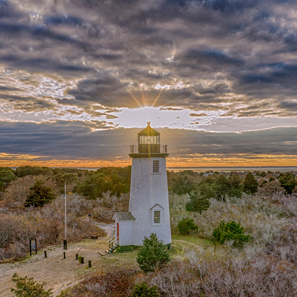 Cape poge light sunset clouds txzsbf