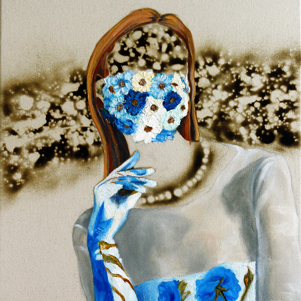 Flower mask burn model painting serafino wetpaintnyc gallery wgqjld