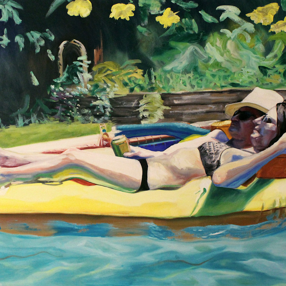Pizza raft pool painting artist serafino wetpaintnyc gallery wq4z44