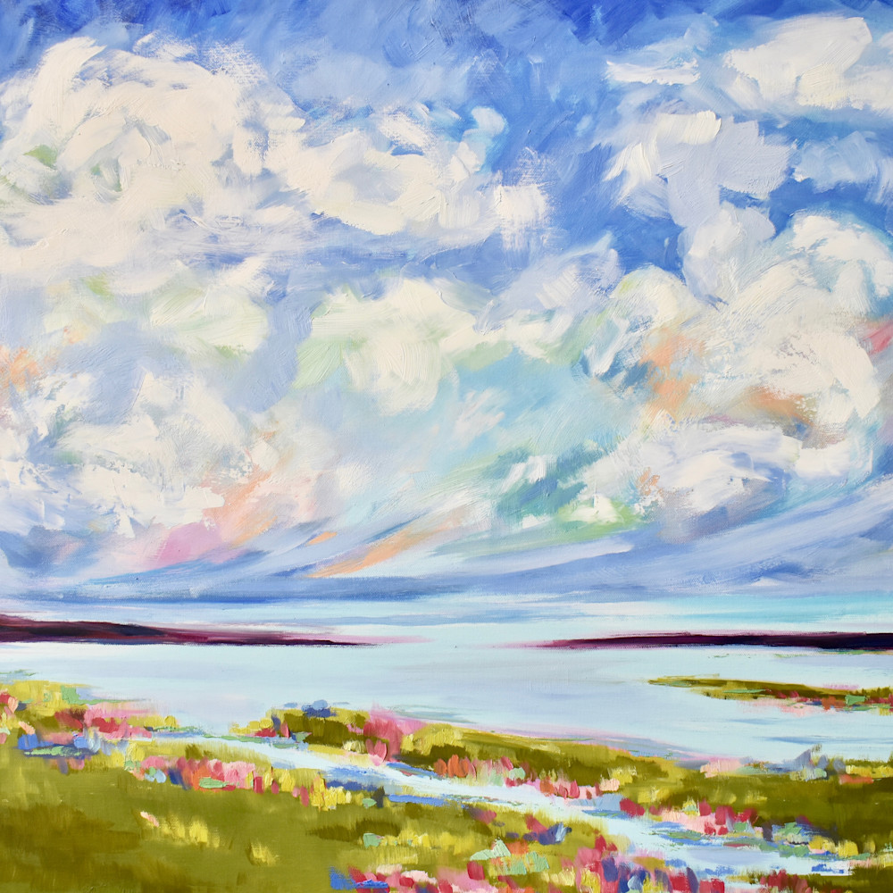 Large big spring clouds over the salt marsh 1 36x24 yskovc