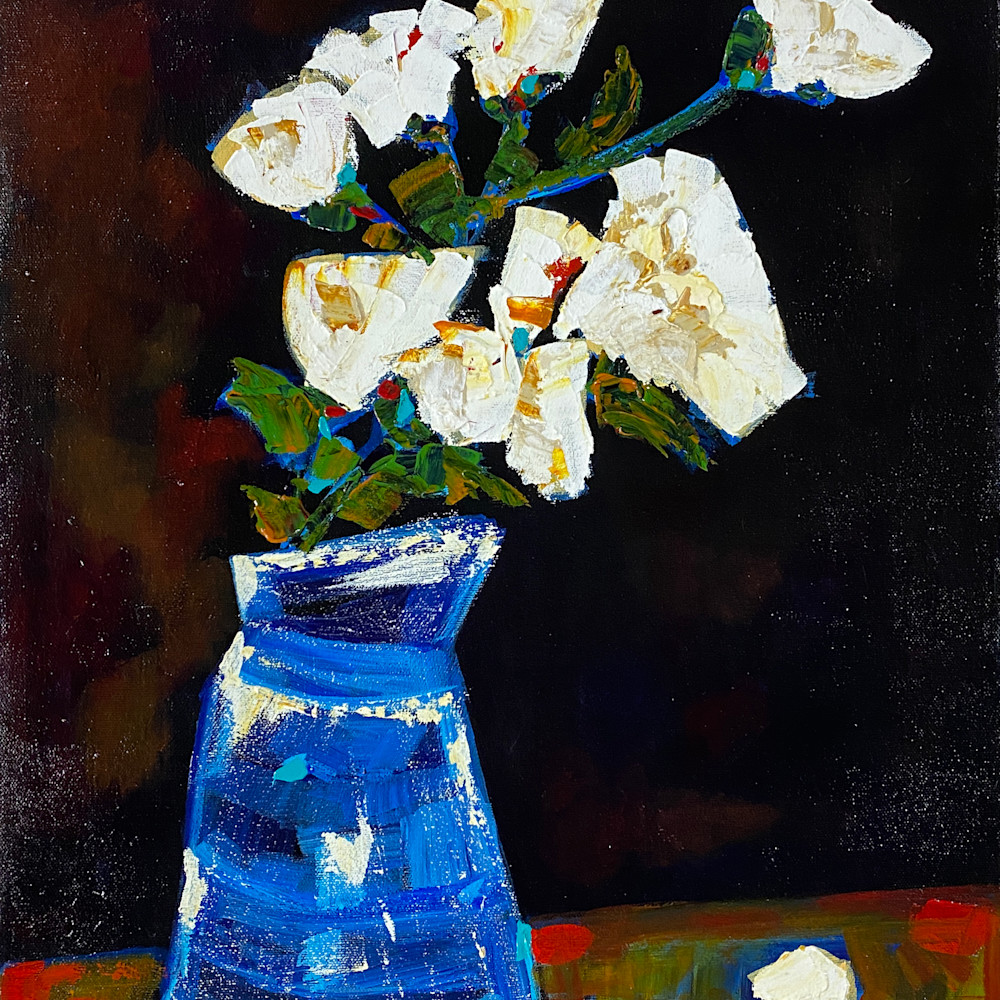 White and blue flowers print lw1ysd