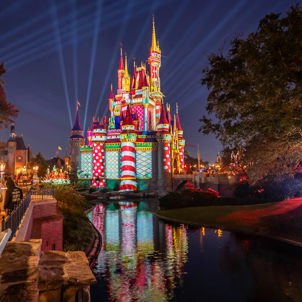 Christmas castle projections from liberty square wk3j2y