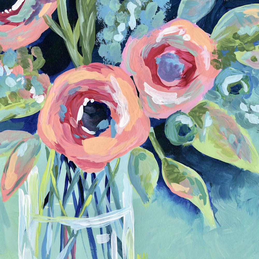 Large floral aqua flowers lighter 24 x 18 dmkdpv