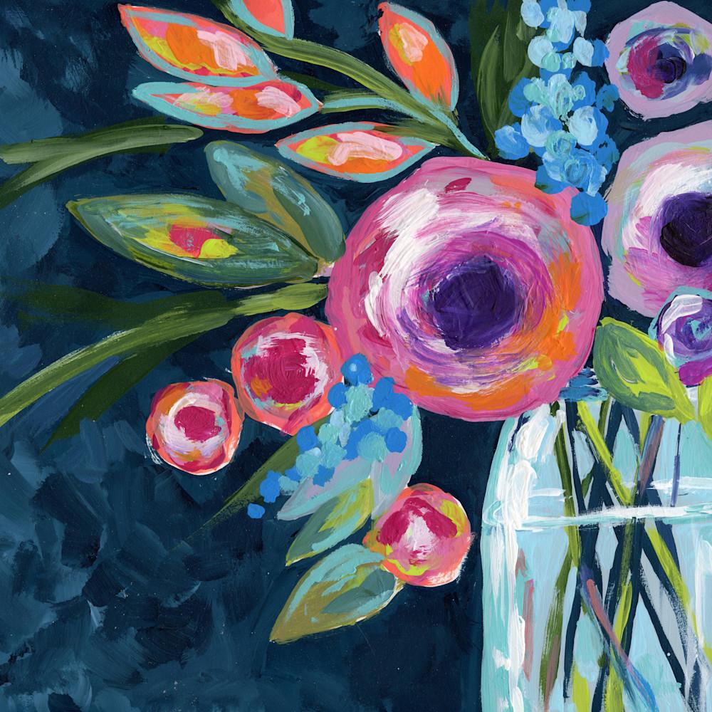Large floral indigo floral original 18 x 24 lqfnlz