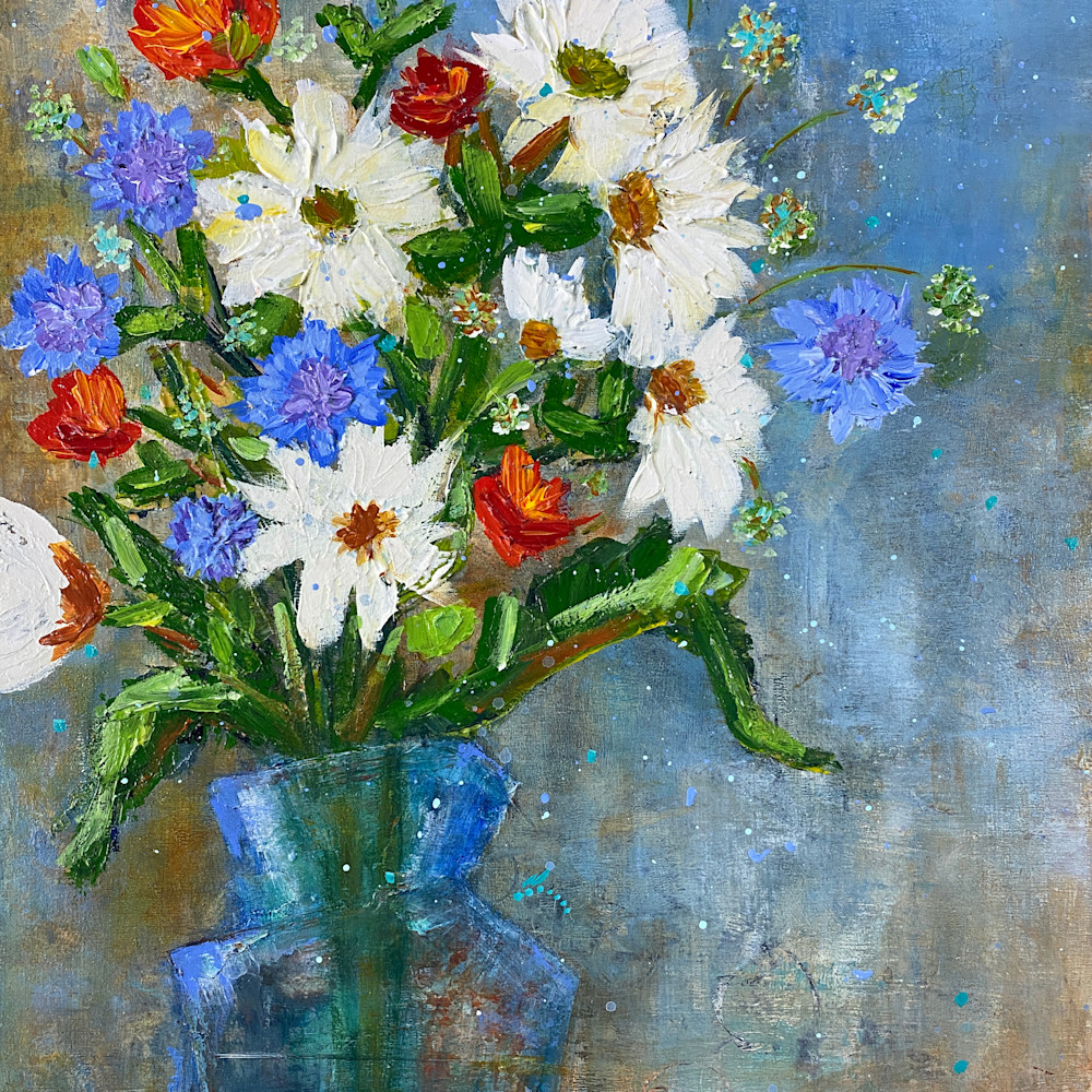 White and blues flowers print u278hc