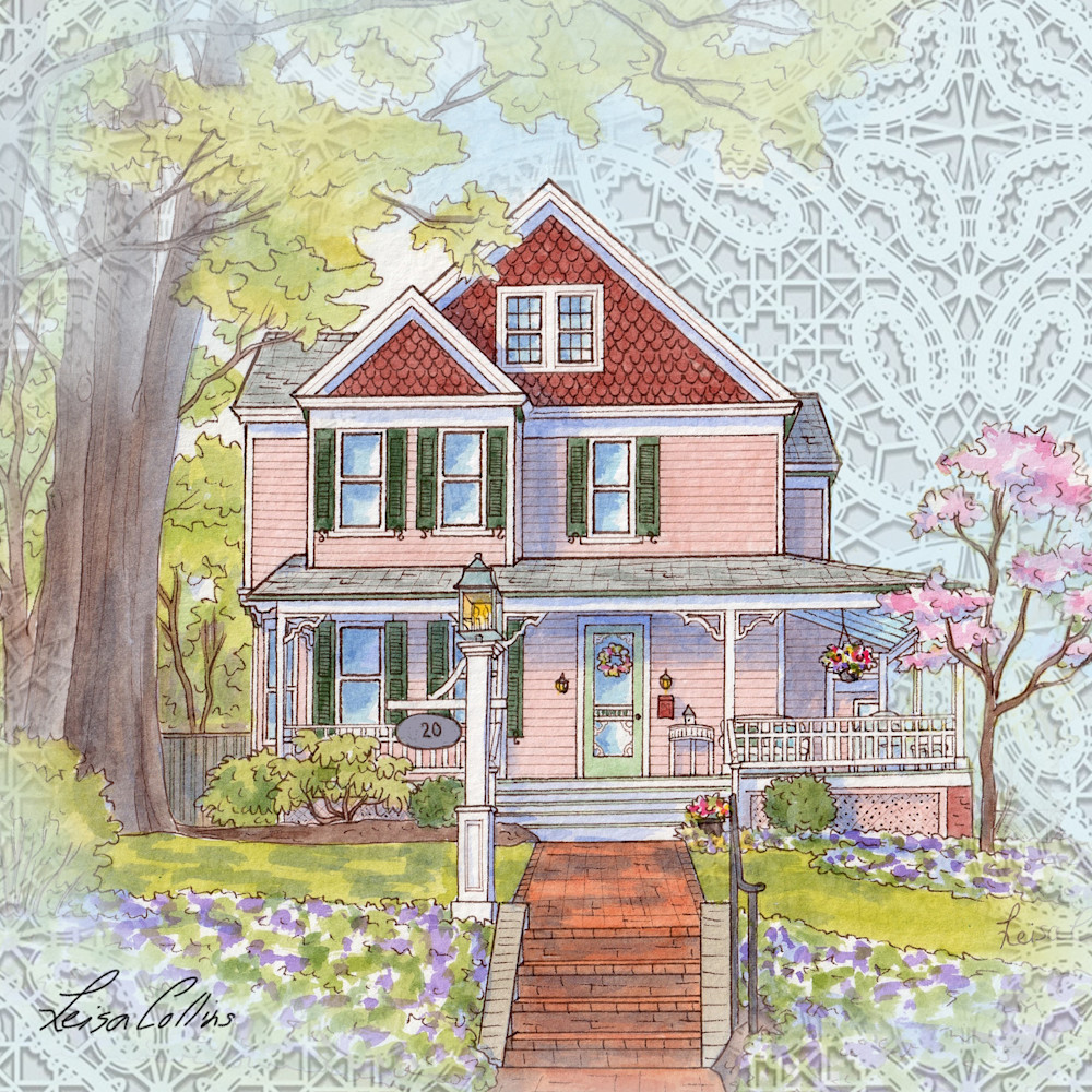 Crop vintage victorian home on lace collage   architectural collage art bbywqz