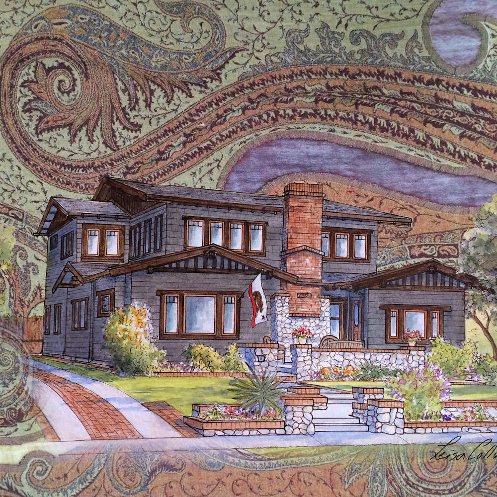 Crop craftsman home on handwoven backdrop collage   architectural collage art xxhojg