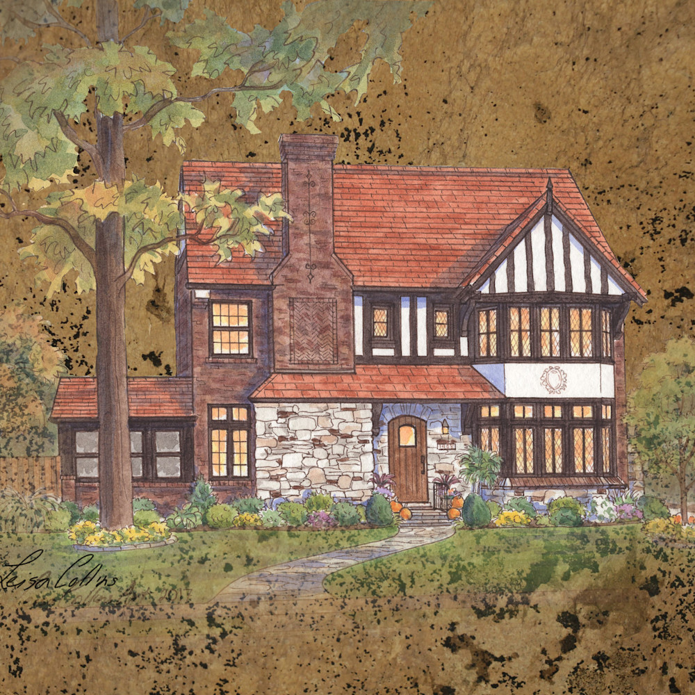 Crop english tudor on leather   architectural collage art umt7qu