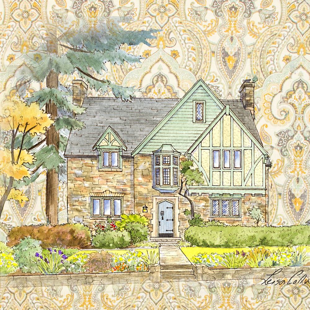 Crop country tudor manor collage   architectural collage art ckm9j2
