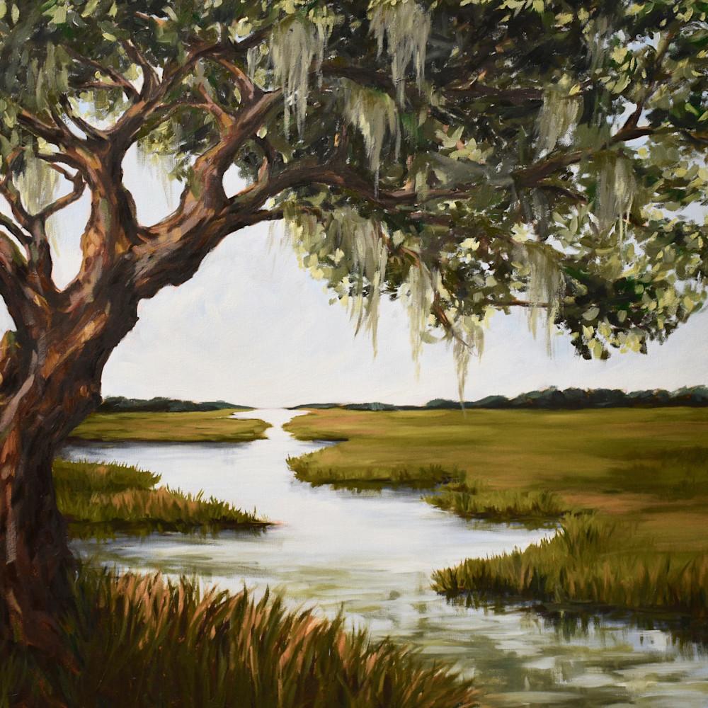 Large oak tree marsh dark 30x40 q9qxcp