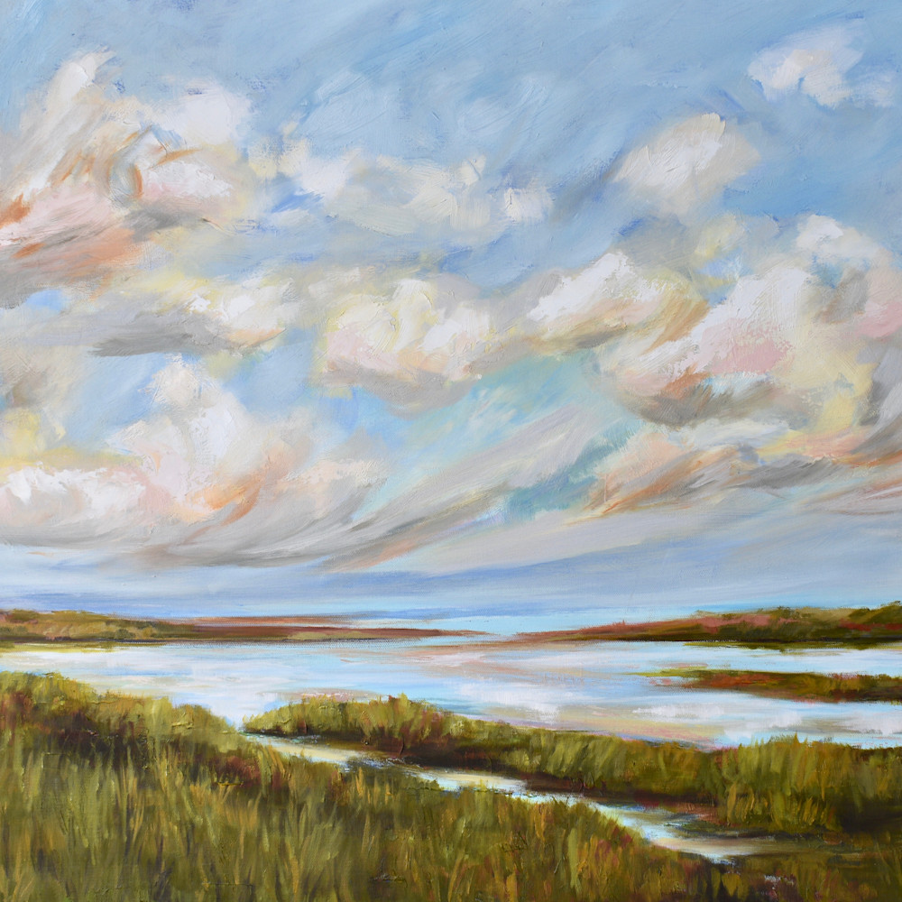 Early spring clouds on the waking marsh 24 x36 tmtbyn