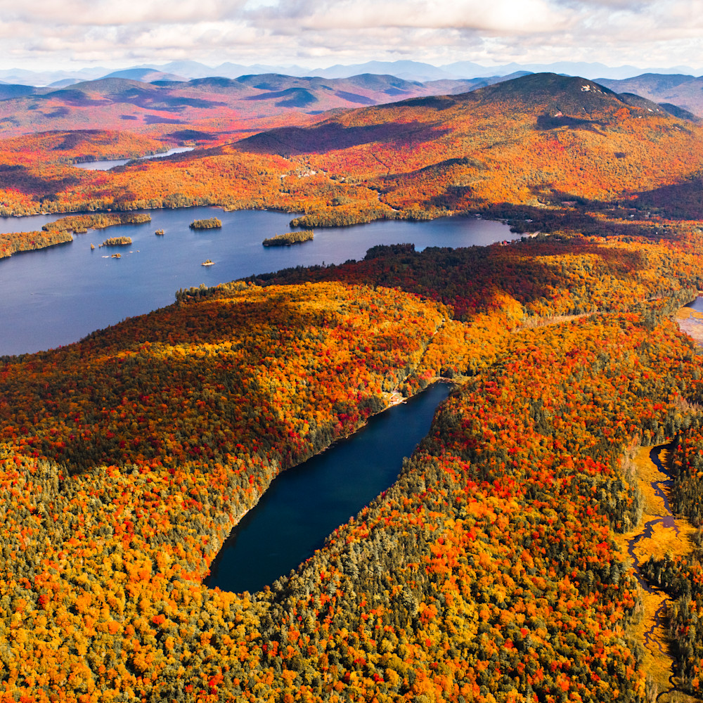 Crystal and blue mt lake fall aerial teqfsk