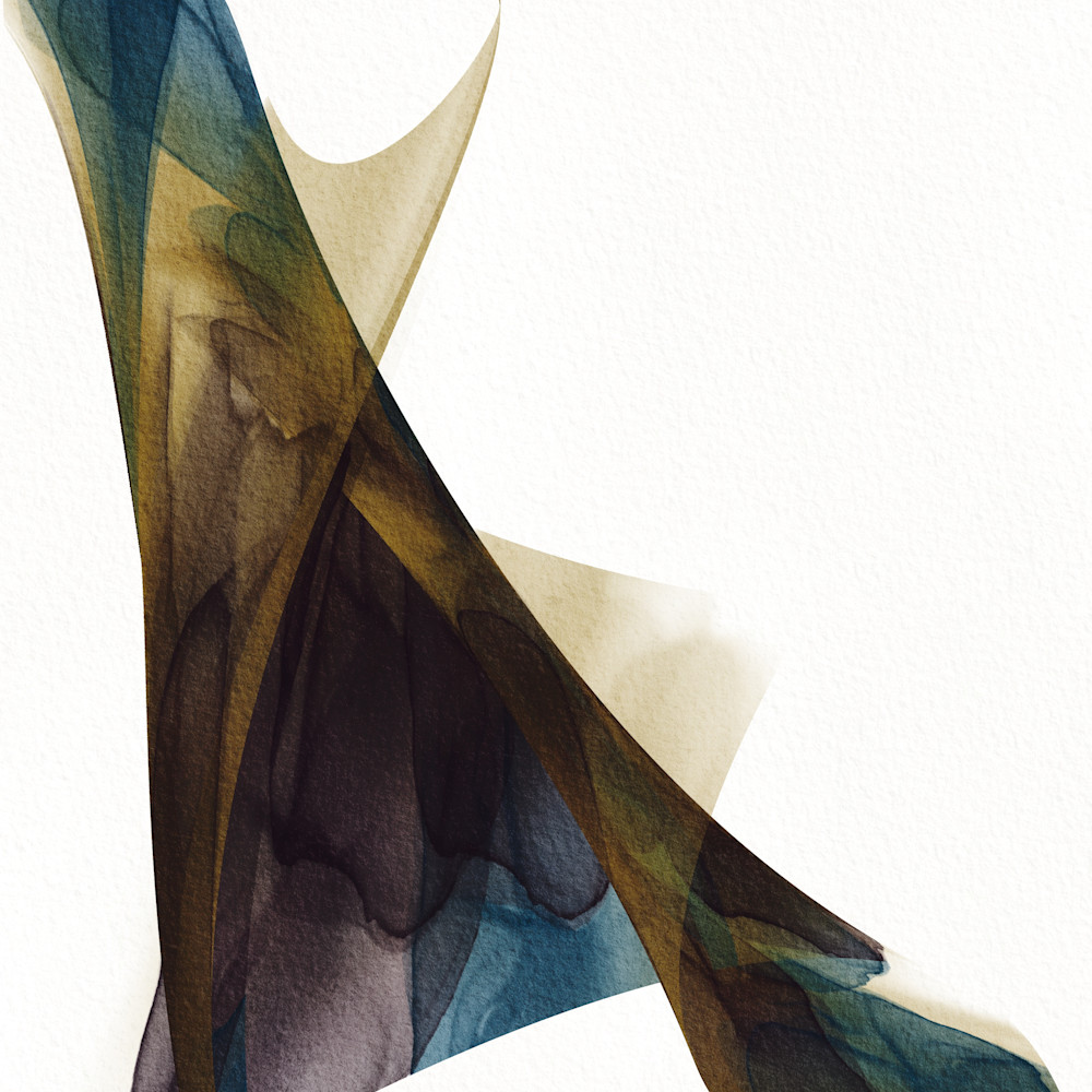 Number 10 togetherness abstract ink abstract teal brown naajew