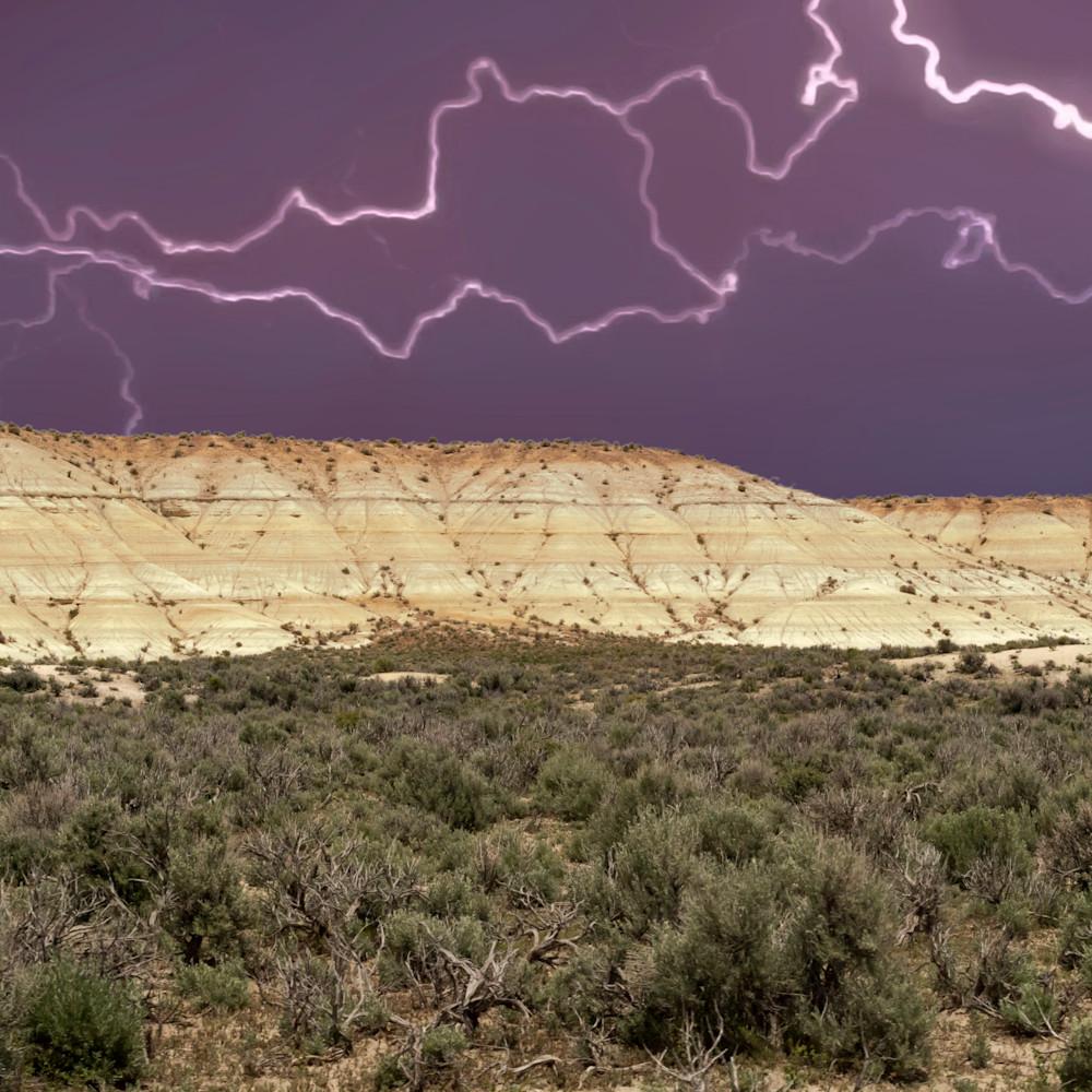 Nevada badlands under lightning bzf3lk