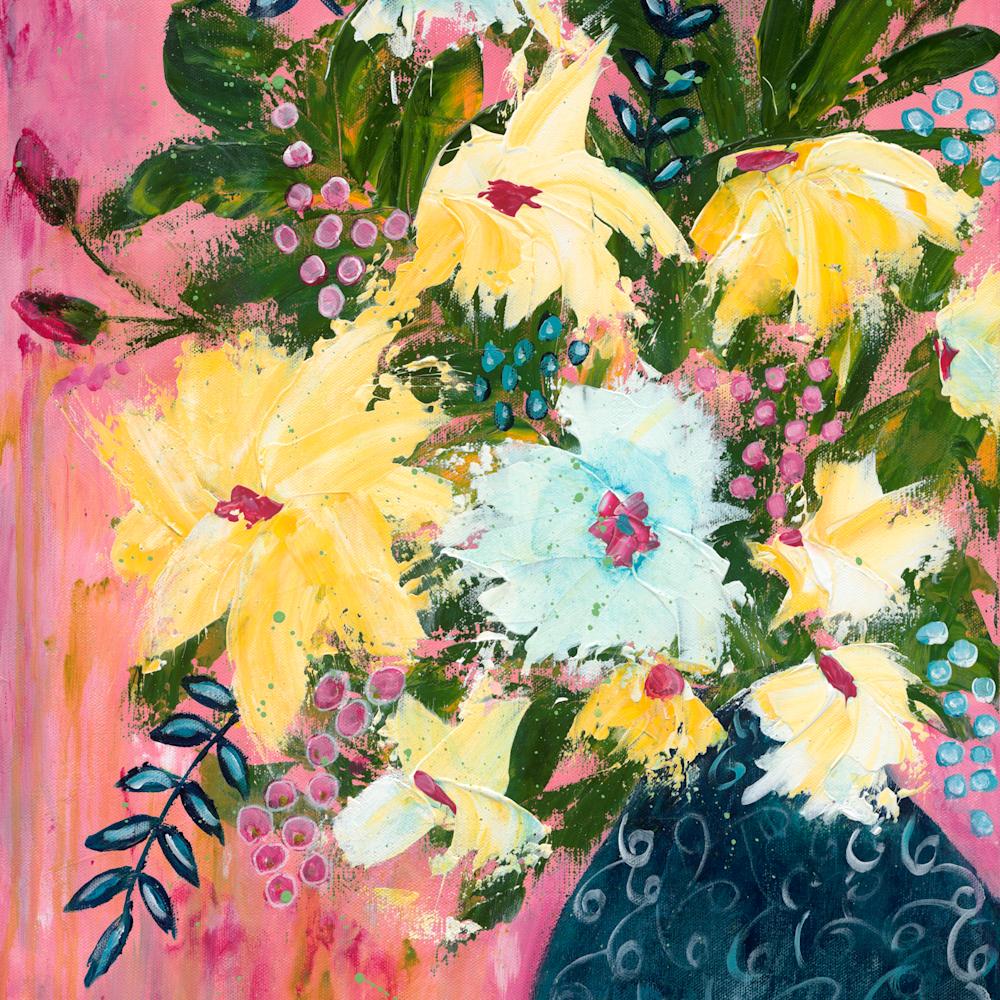 Flowers in blue vase pink background png w6qpjm