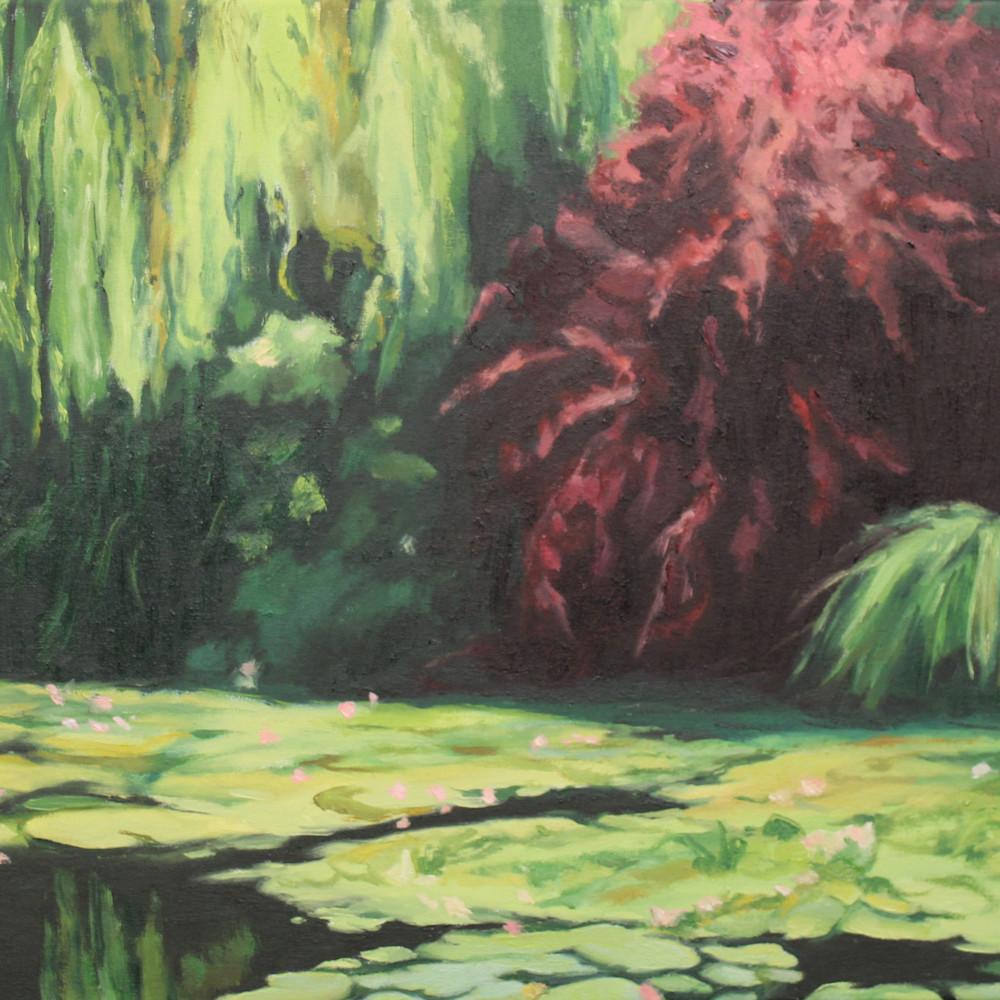 Red tree in monet s garden jnkybo