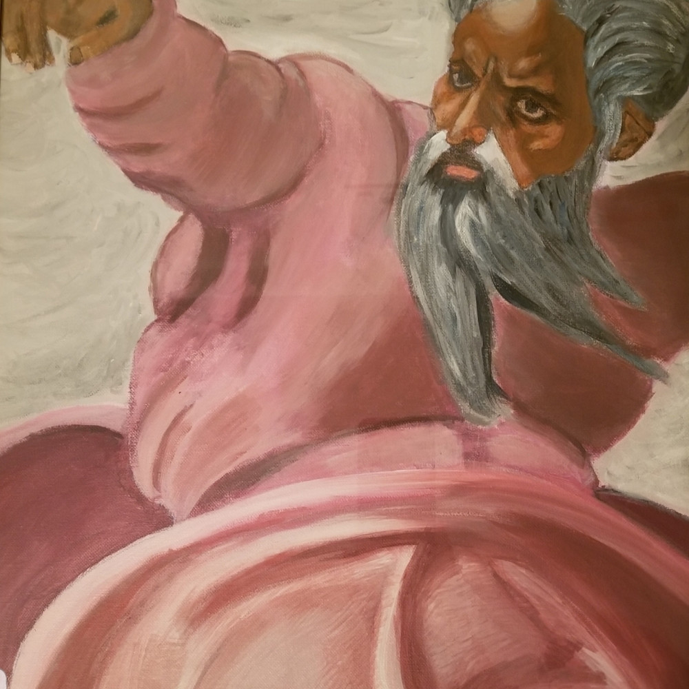 Painting of michelangelo s god creating the sun espq92