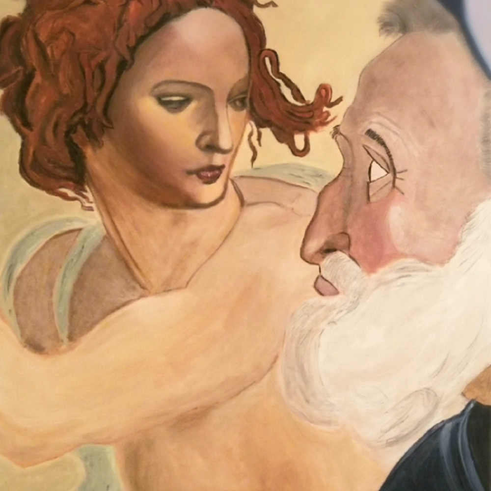 Painting of michelangelo s woman with man painting ii8idy