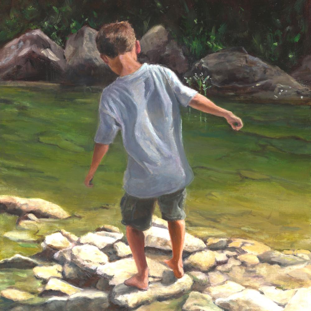 Boy in the creek16x20 wsasxe